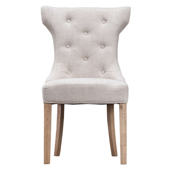 Jervaulx Chair Collection Winged Button Back Chair Beige
