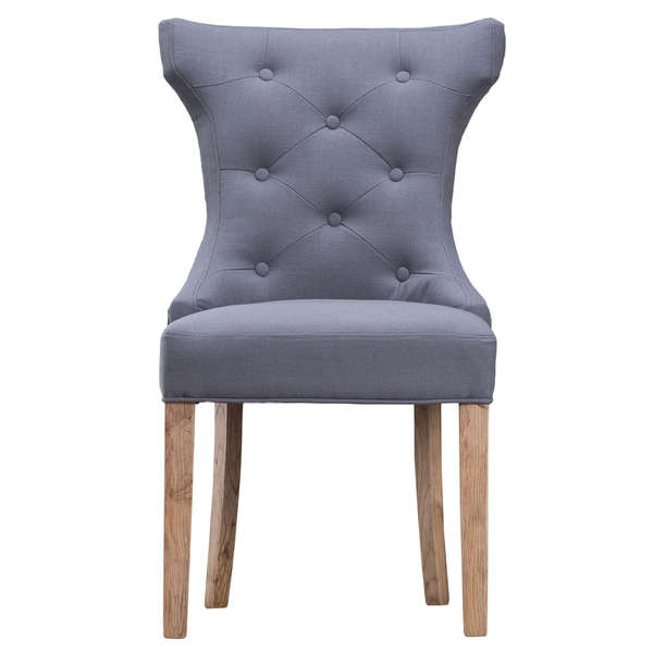 Jervaulx Chair Collection Winged Button Back Chair Grey