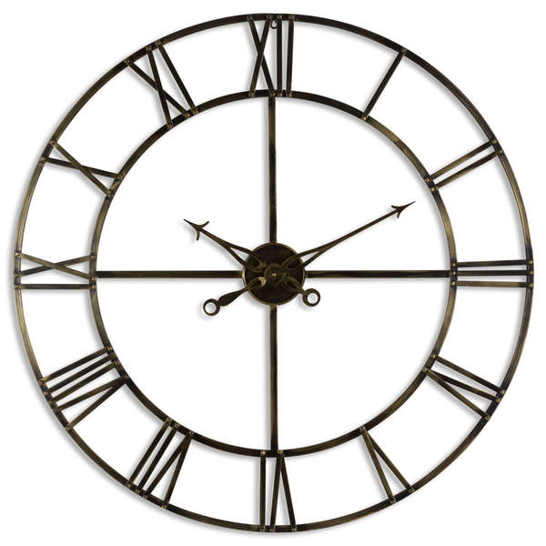 Large Antique Brass Skeleton Wall Clock