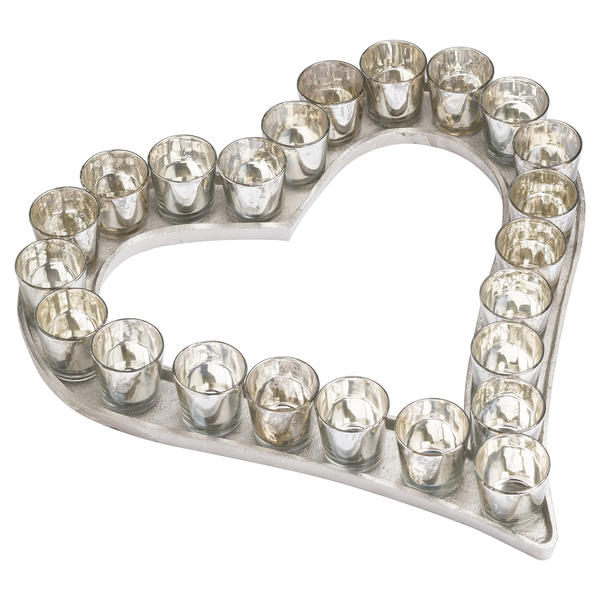 Large Cast Aluminium Heart Tray With Silver Glass Votives