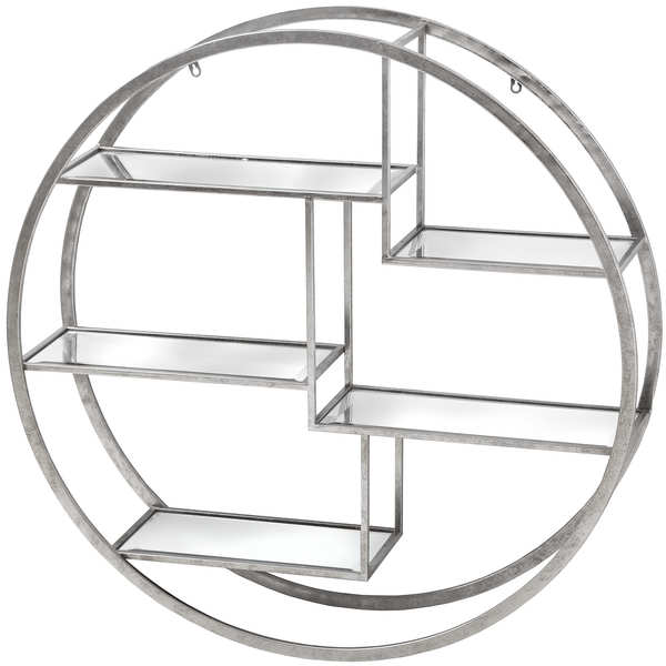 Large Circular Silver Wall Hanging Multi Shelf