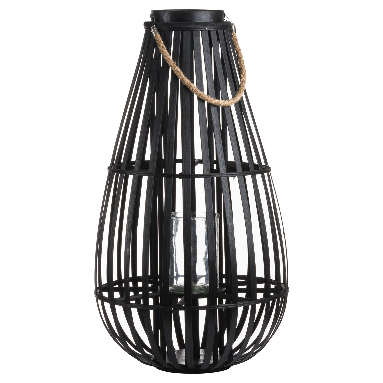Large Floor Standing Domed Wicker Lantern With Rope Detail