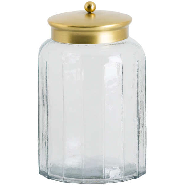 Large Hammered Glass Jar With Brass Lid