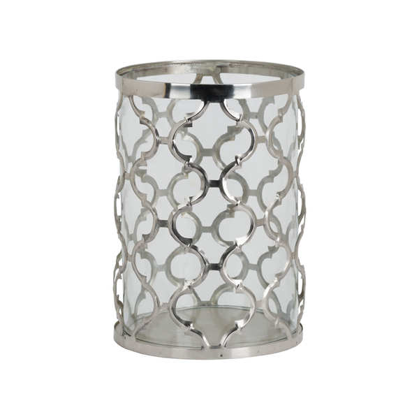 Large Polished Nickel Arabesque Patterned Candle Holder