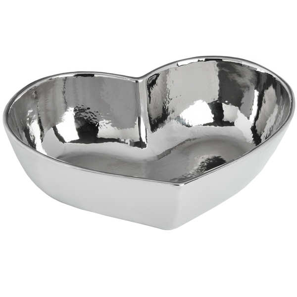 Large Silver Ceramic Heart Dish
