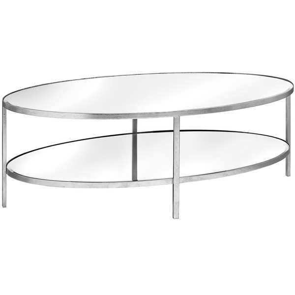 Large Silver Mirrored Oval 2 Shelf Coffee Table