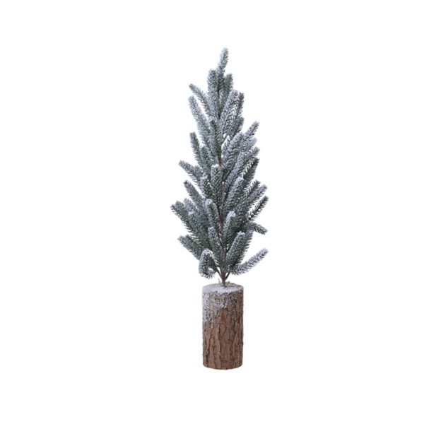 Large Snowy  Pine Tree With Log Base