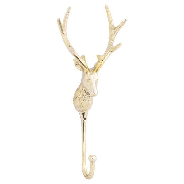 Large Stag Wall Hook In Brass