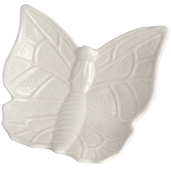 Large White Butterfly Design Display Dish