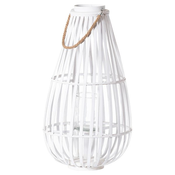 Large White Floor Standing  Domed Wicker Lantern With Rope