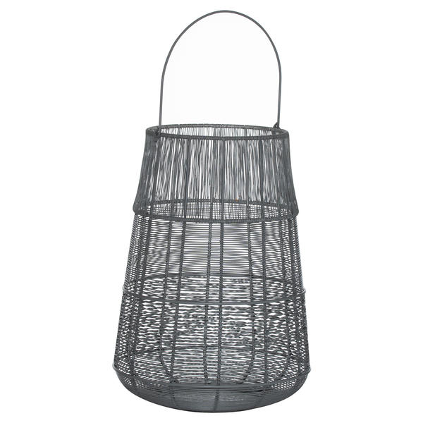 Large Wire Silver And Grey Glowray Conical Lantern
