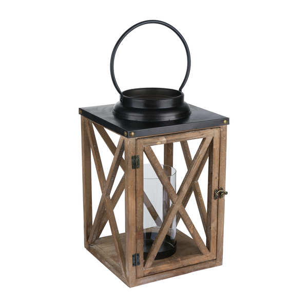 Large Wooden Cross Style Lantern With Stud Detail