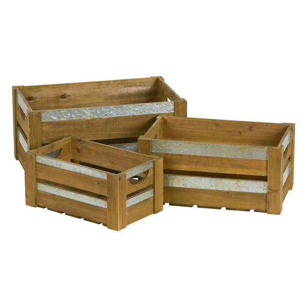 Loft Collection Set Of Three Wooden Crates With Metal Braces