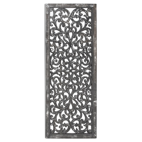 Louis Carved Antique Mettalic Lattice Mirror