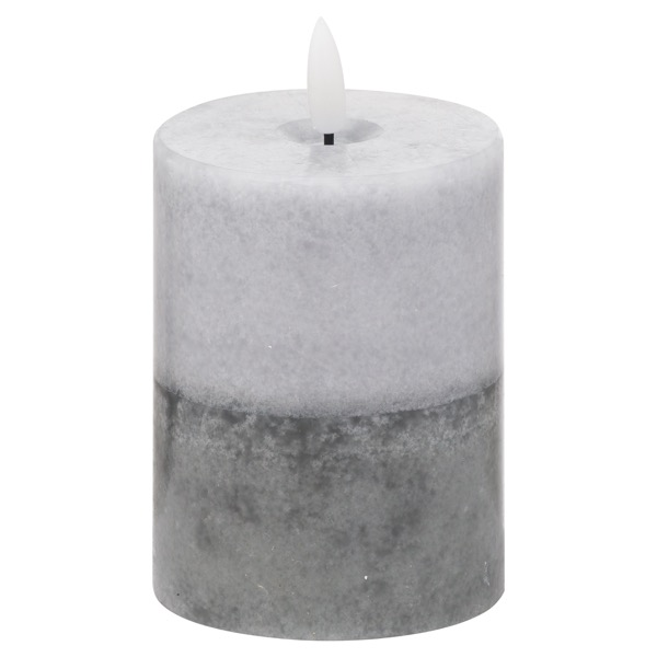 Luxe Collection Natural Glow 3x4 Grey  Dipped LED Candle