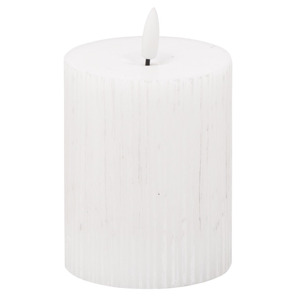 Luxe Collection Natural Glow 3x4 Textured Ribbed LED Candle