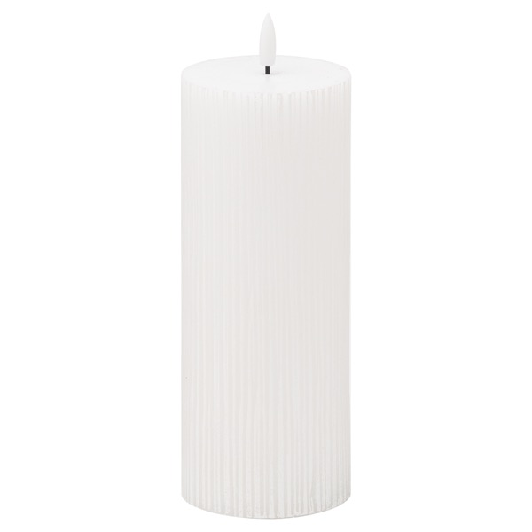 Luxe Collection Natural Glow 3x8 Textured Ribbed LED Candle