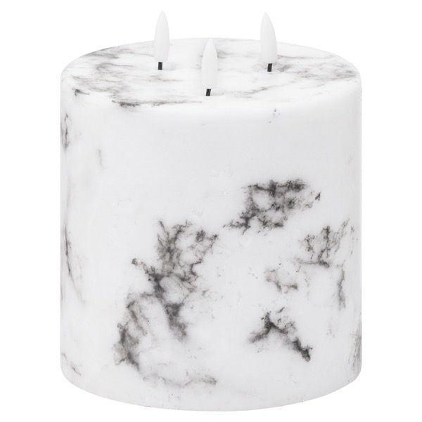 Luxe Collection Natural Glow 6x6 Marble Effect LED Candle