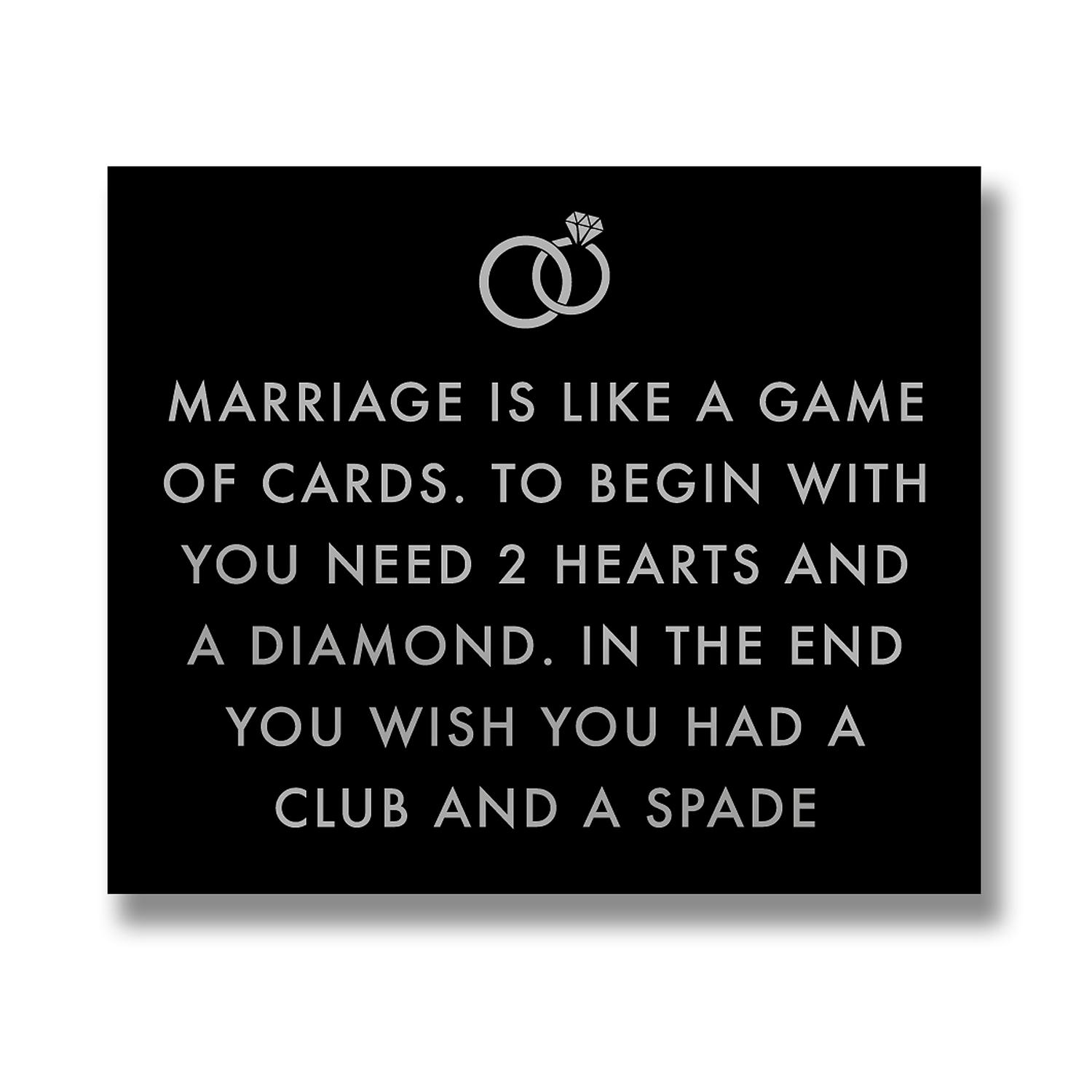 Marriage Is Like Metallic Detail Plaque