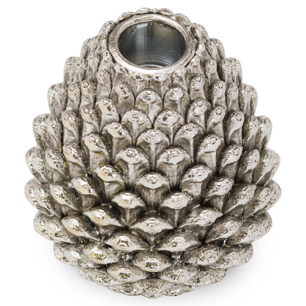 Medium Silver Pinecone Candle Holder