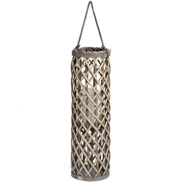 Medium Wicker Lantern with Glass Hurricane