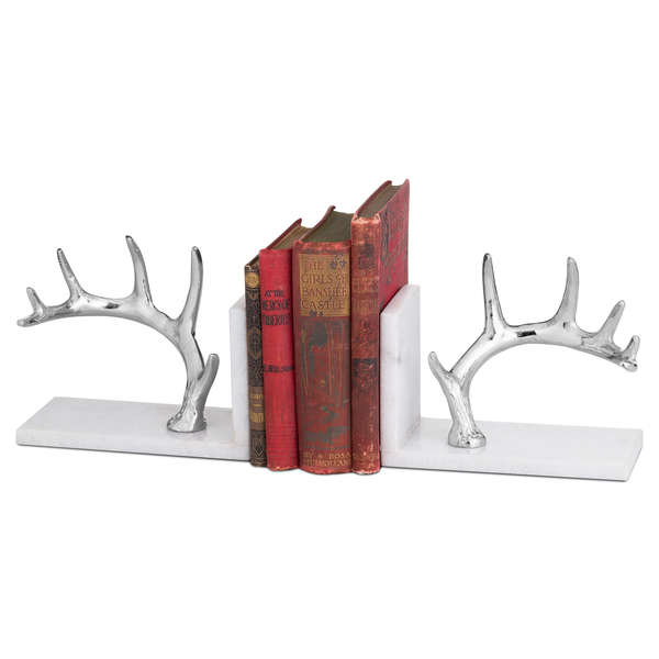 Nickel Antler And Marble Bookend