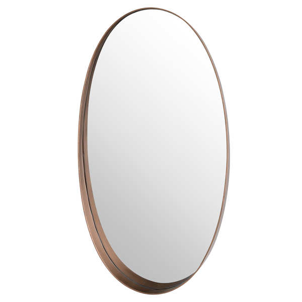 Oval Copper Finish Mirror With Protruding Edge