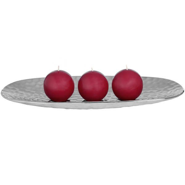 Oval Silver Ceramic Dimple Effect Display Dish
