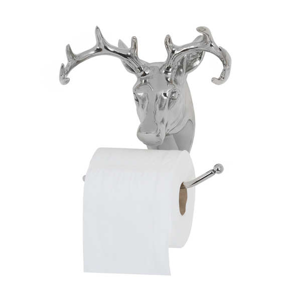 Polished Nickel Stag Toilet Roll Holder