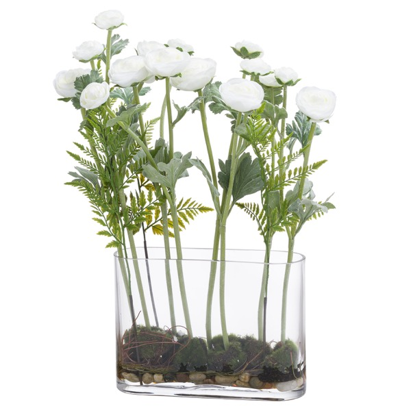 Ranunculus Arrangment In Glass Pot