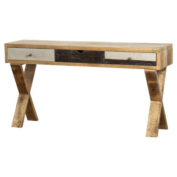 Reclaimed Industrial Console With Cross Leg