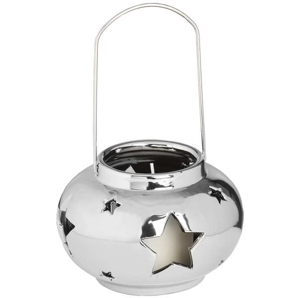 Round Star Design Silver Ceramic Candle Lantern