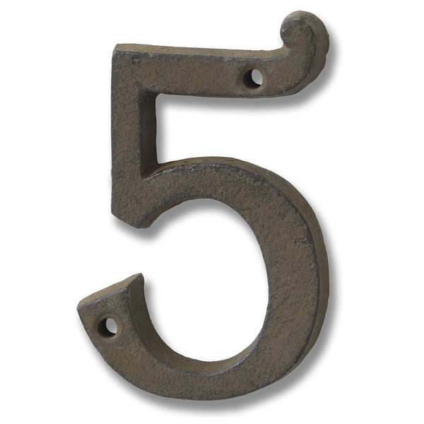 Rustic Brown Cast Iron Number '5'