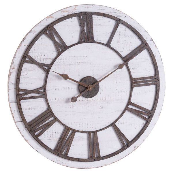 Rustic Wooden Wall Clock With Aged Numerals And Hands