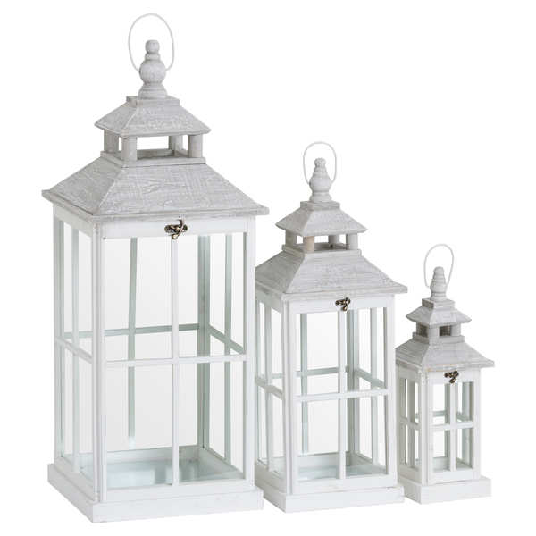 Set Of 3 White Window Style Lanterns With Open Top