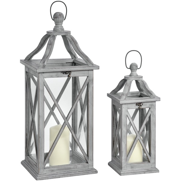 Set Of Two Grey Cross Section Lanterns With Open Tops
