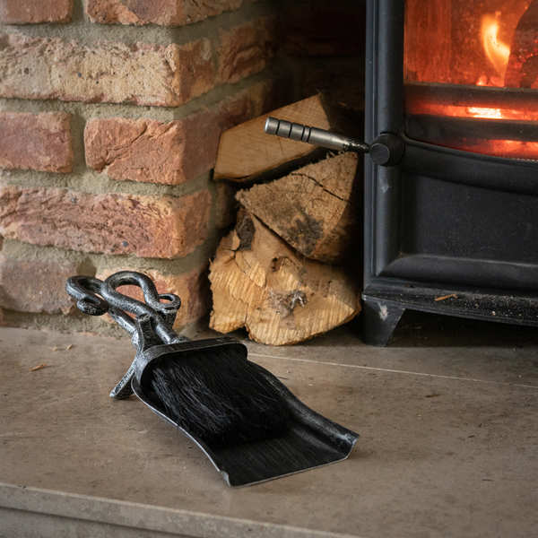 Silver Brushed Steel Crook Top Hearth Tidy Set