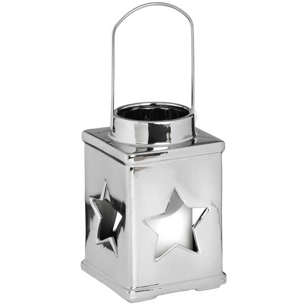 Silver Ceramic Star Candle Holder with Handle