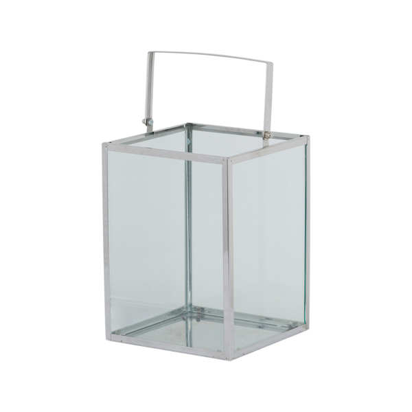 Silver Cube Contempory Lantern With Wax Led Candle