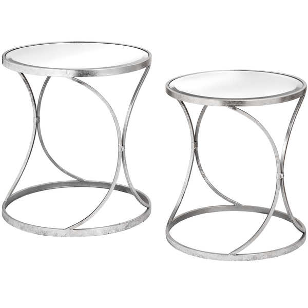 Silver Curved Design Set Of 2 Side Tables