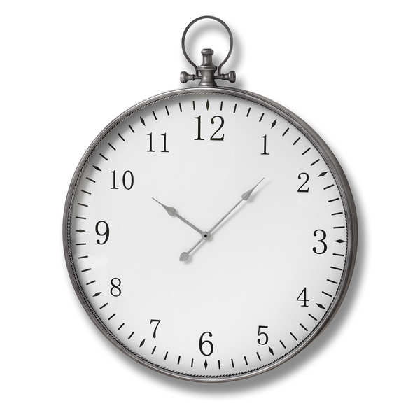 Silver Pocket Watch Wall Clock