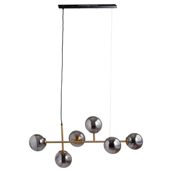 Six Globe Smoked Glass And Brass Detail Hanging Light