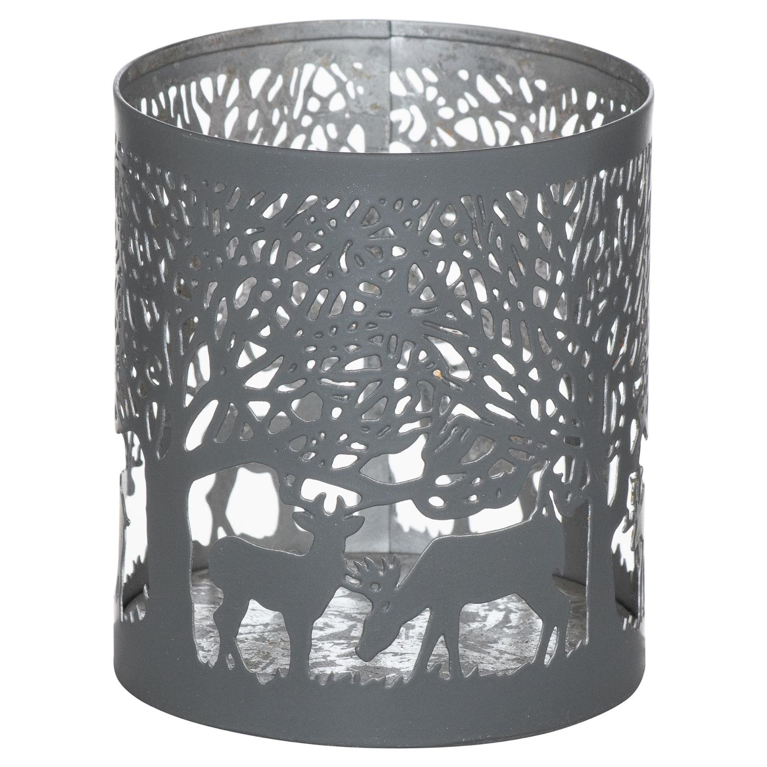 Small Silver And Grey Glowray Stag In Forest Lantern