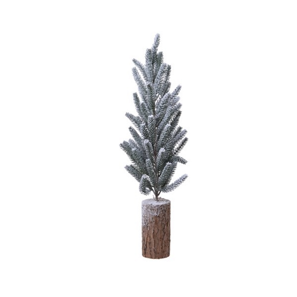 Small Snowy  Pine Tree With Log Base