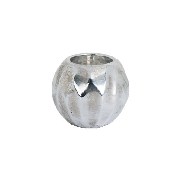 Small Spherical Detailed Metallic Ceramic Tealight Holder