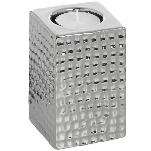 Square Silver Ceramic Tea Light Holder - Small