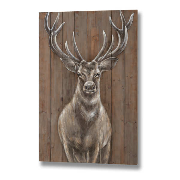 Stag on Wood effect Panel