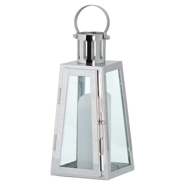 Stainless Steel Lighthouse Lantern With Wax Flickering Flame Candle