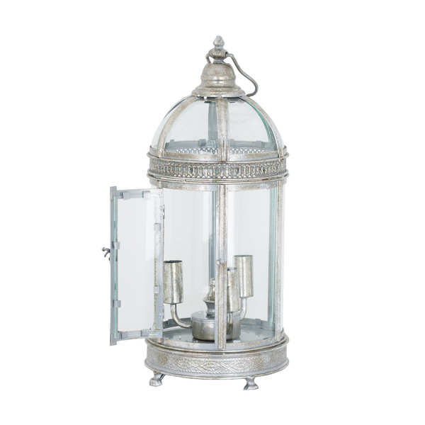 Table Lantern Lamp In Antique Silver