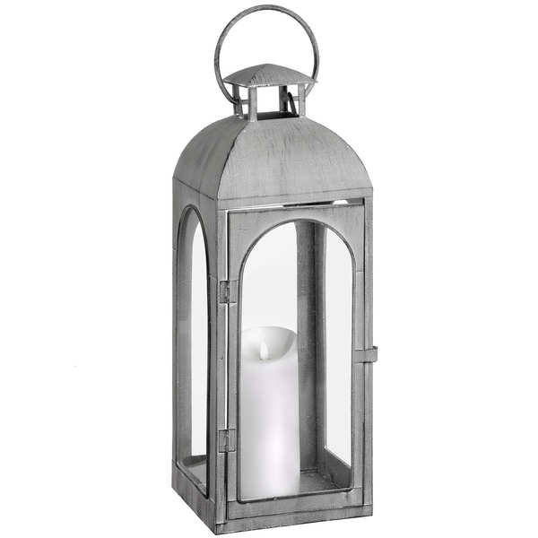 Tall Distressed Matte Grey Coach Lantern